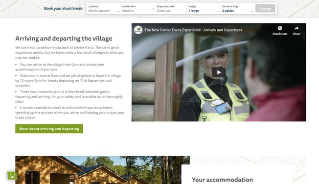 Center Parcs updated experience page