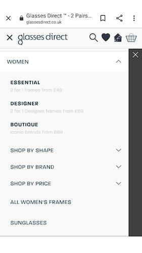 Glasses Direct mobile menu