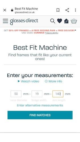 Glasses Direct 'Best Fit Machine'
