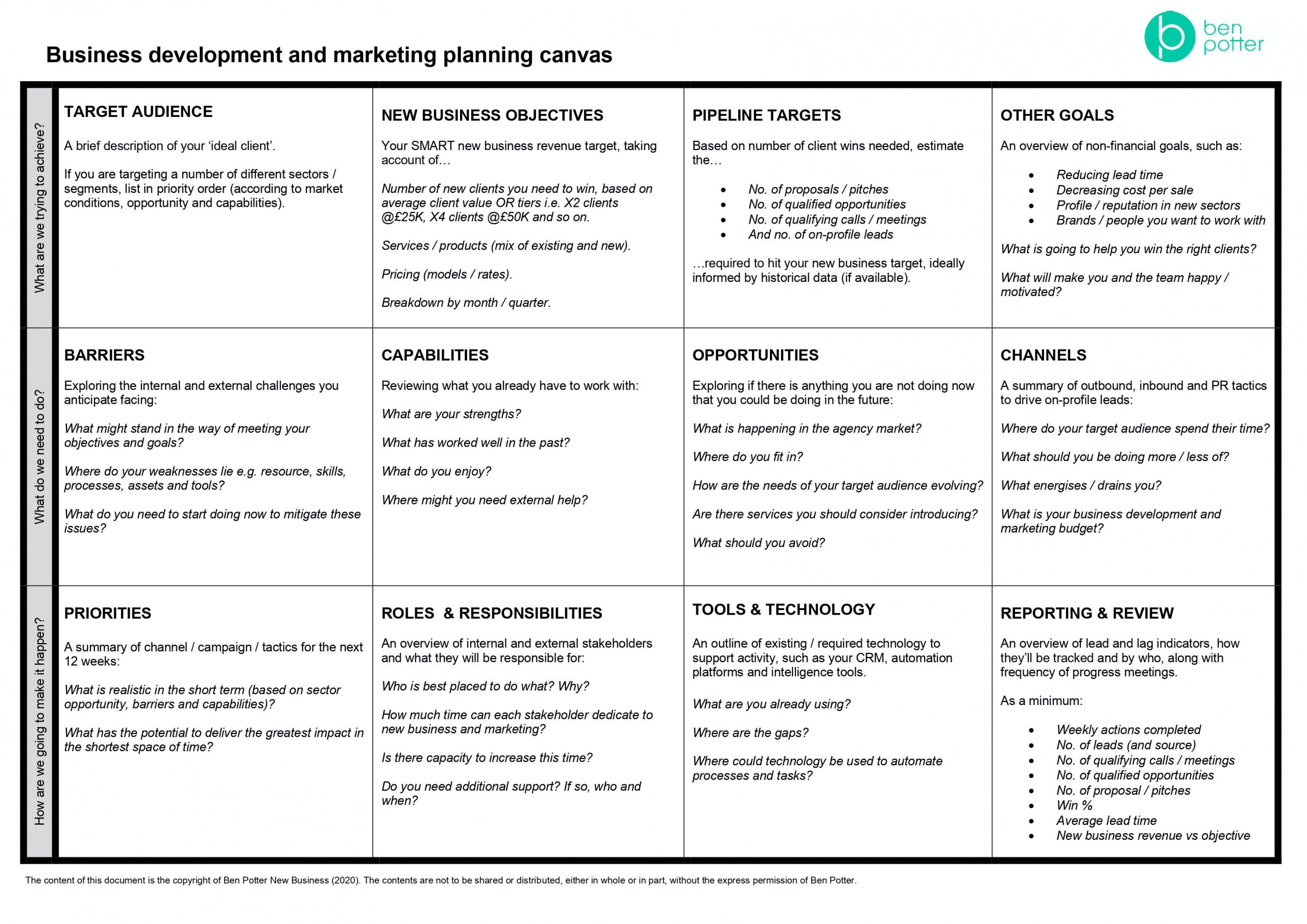 biz dev and marketing canvas including target audience, new biz objectives, pipeline targets, other goals, barriers, capabilities, opportunities, channels, priorities, roles and responsibilities, tools and technologies, reporting and review