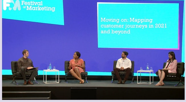 Ben Davis speaks to Chi Evi-Parker, Rav Dhaliwal and Inés Ures on a stage at the Festival of Marketing.