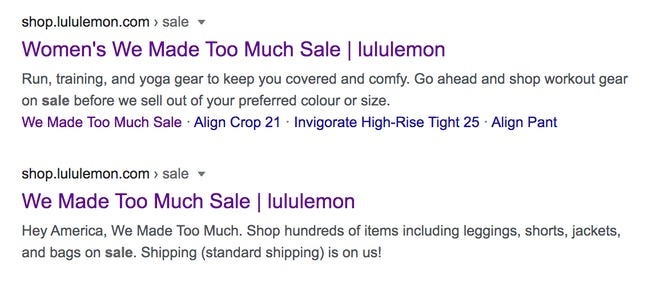 google search for lululemon sale