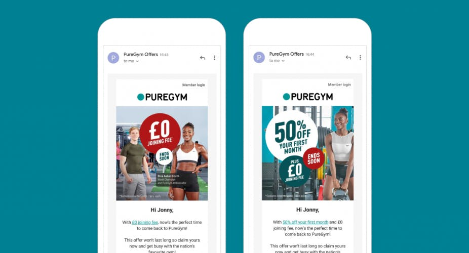 PureGym personalised emails in smartphone screens