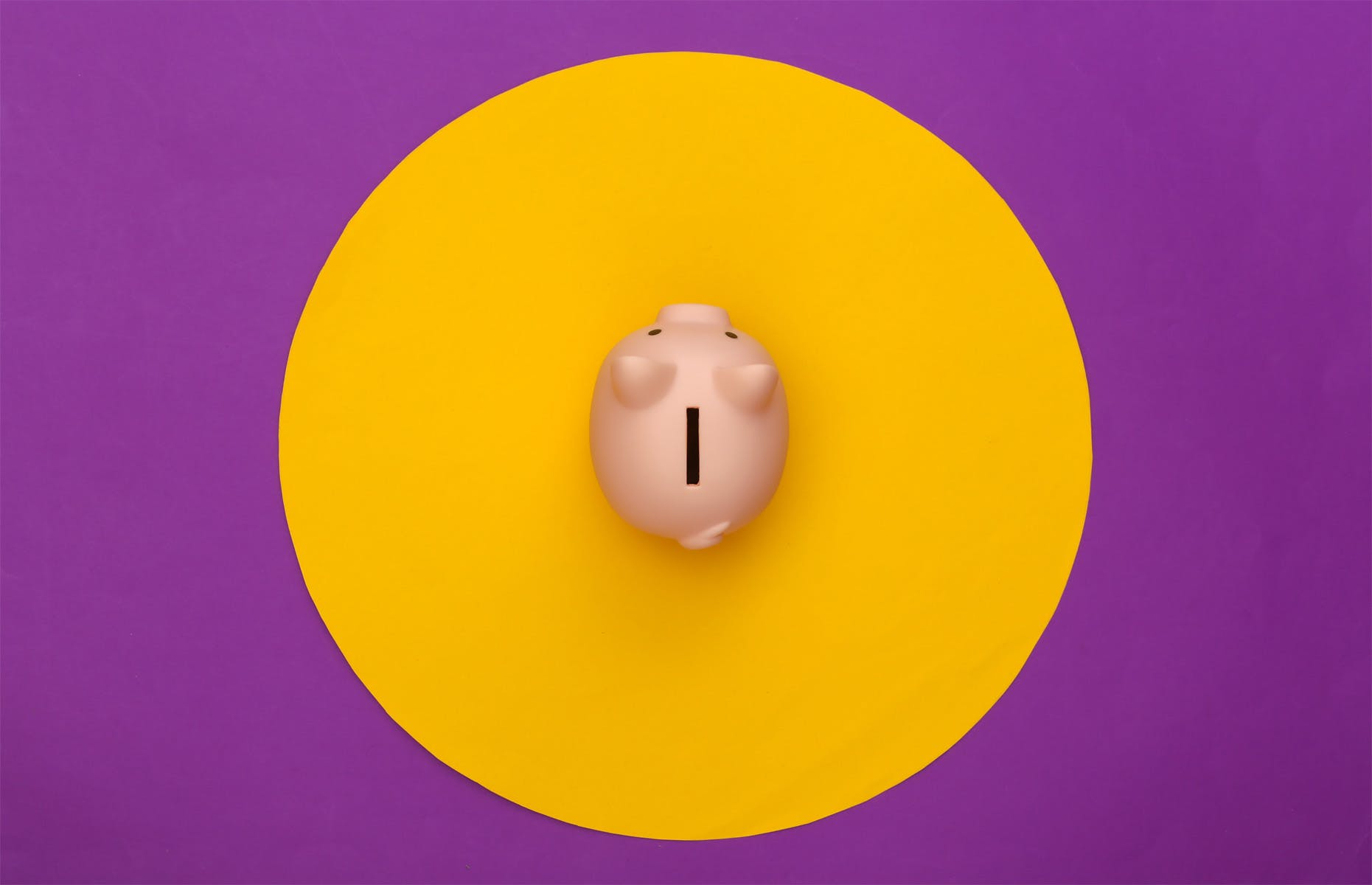 Piggy bank on purple background with yellow circle.