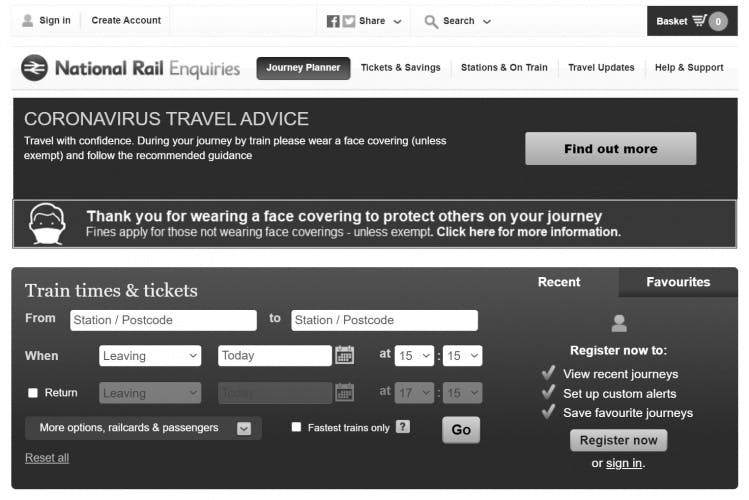 A screen capture of the National Rail website being displayed in greyscale on Sunday 11th April 2021.