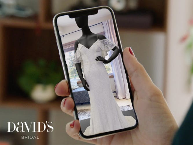 Smart phone shows AR wedding dress