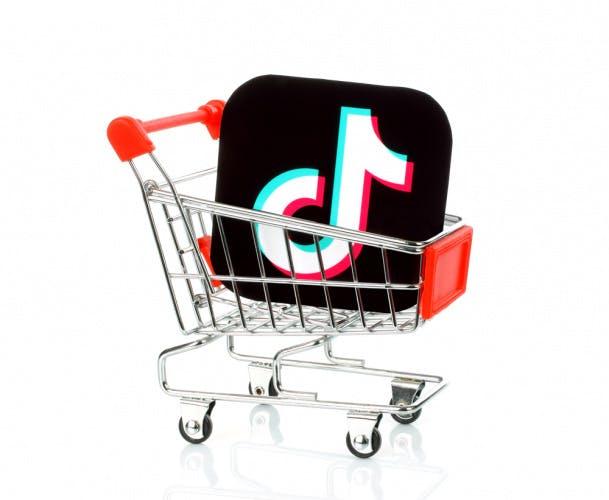The TikTok logo inside a shopping cart